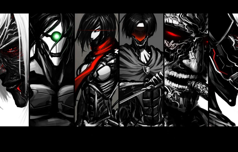 Фото обои fan art, вторжение гигантов, Shingeki no Kyojin, Mikasa Ackerman, Annie Leonhart, Levi, Eren Yeager, attack …