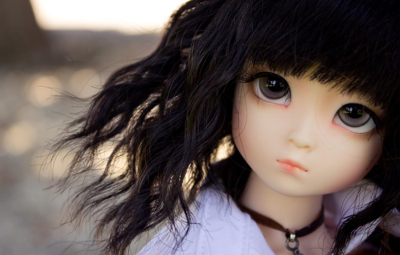 Фото обои взгляд, игрушка, кукла, брюнетка