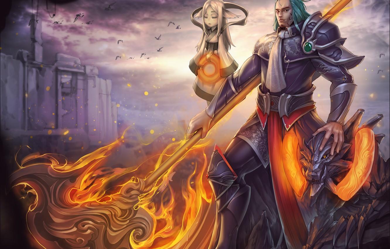 Фото обои девушка, огонь, магия, воин, арт, маг, мужчина