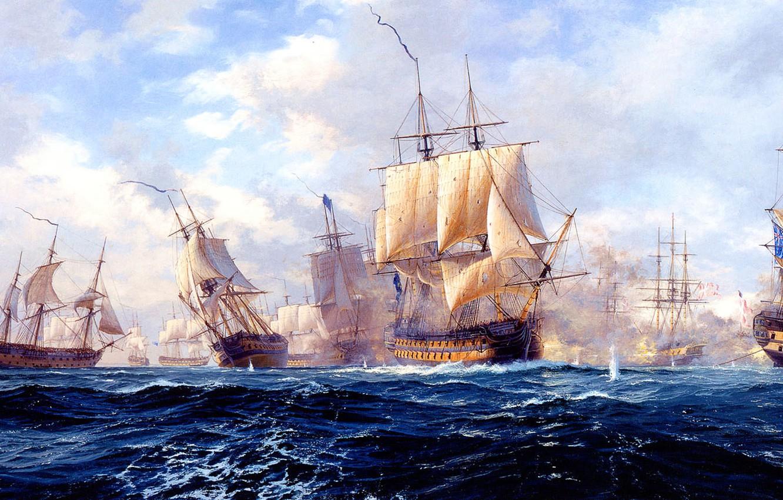 Фото обои море, волны, небо, облака, парусник, корабли, картина, морской бой, копенгаген