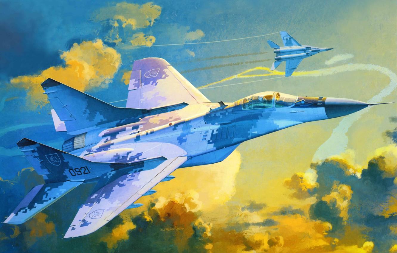 Фото обои самолет, истребитель, арт, опоры, точка, ОКБ, российский, многоцелевой, советский, разработанный, МиГ-29А, МиГ., Fulcrum