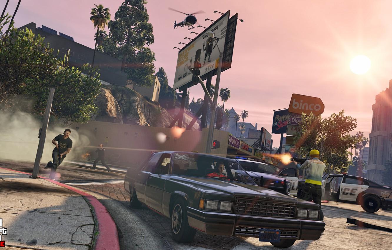 Обои машины, полиция, вертолет, перестрелка, Grand Theft Auto V ...