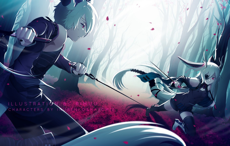 Фото обои девушка, оружие, аниме, арт, парень