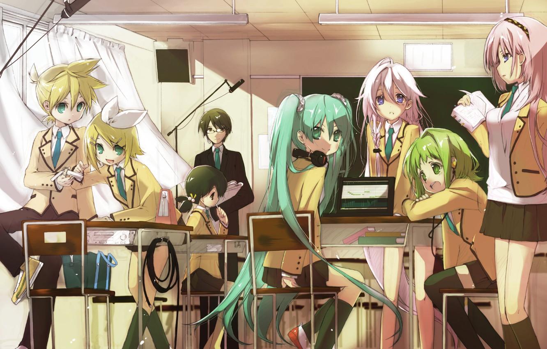 Фото обои девушки, провода, наушники, арт, очки, книга, форма, ноутбук, класс, парни, vocaloid, hatsune miku, megurine luka, …