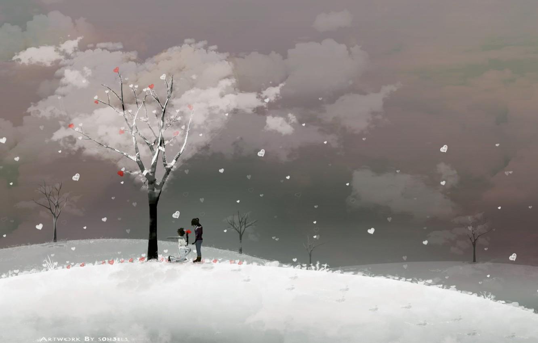 Фото обои love, winter, couple