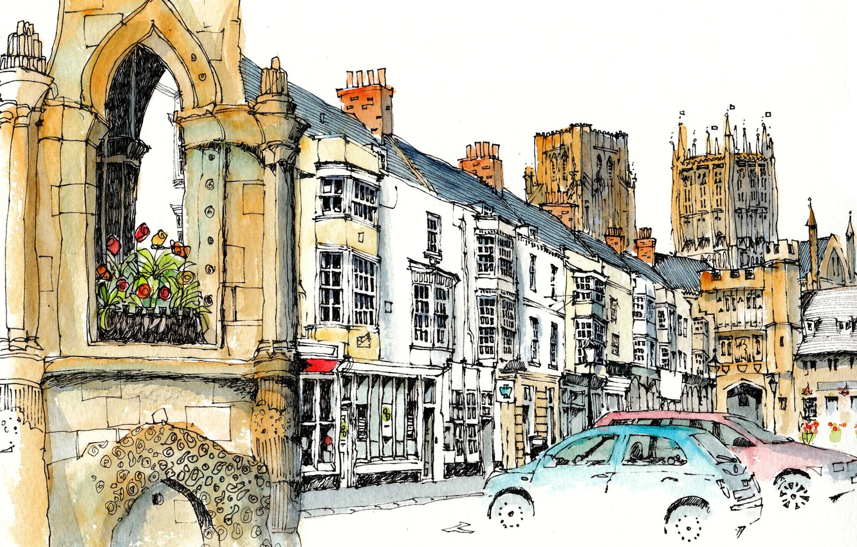 Фото обои город, краски, рисунок, башня, дома, Великобритания, автомобиль, Кеворд
