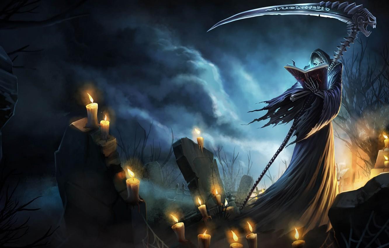 Фото обои смерть, тьма, могилы, свечи, коса, заклинание, League of Legends, LoL, Karthus