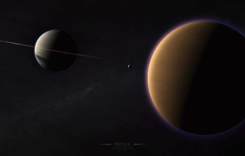 Фото обои кольца, солнечная система, млечный путь, спутники, сатурн, титан, газовый гигант