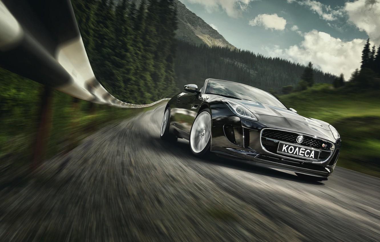 Фото обои Jaguar, Car, Speed, Black, Sport, Road, Photography, Forest, F-Type S