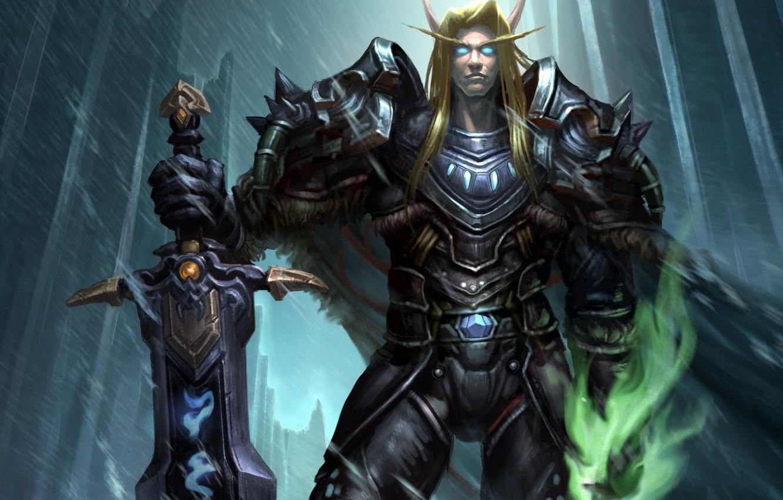 Фото обои броня, wow, world of warcraft, blood elf, эльф крови, рыцарь смерти, dead knight