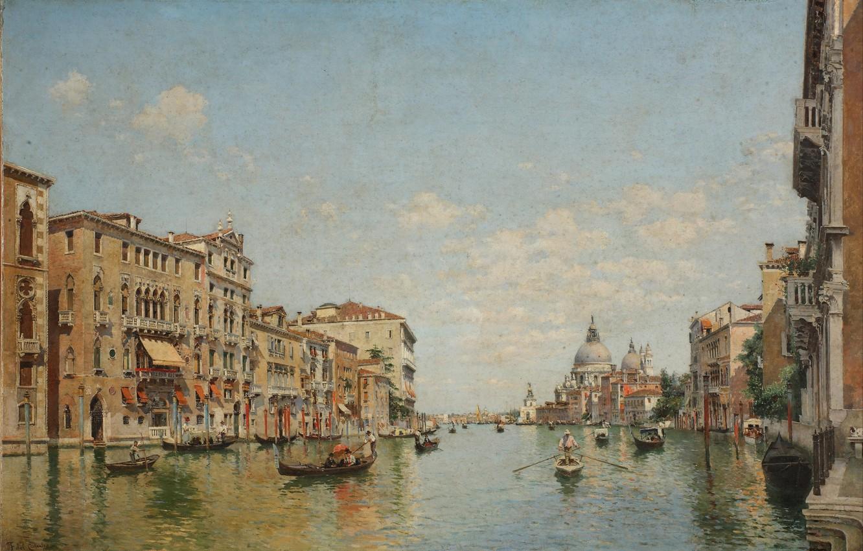Фото обои облака, пейзаж, картина, лодки, арт, Италия, Венеция, канал, гондола, Federico del Campo