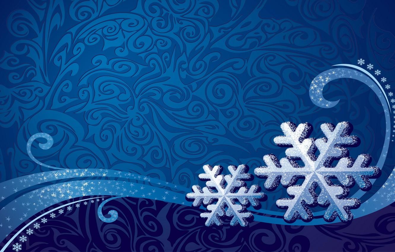 Фото обои зима, снежинки, синий, фон, узоры