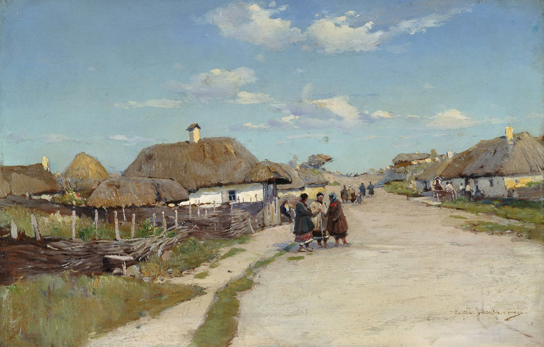 Фото обои небо, облака, люди, улица, картина, украина, хата, хутор, тын