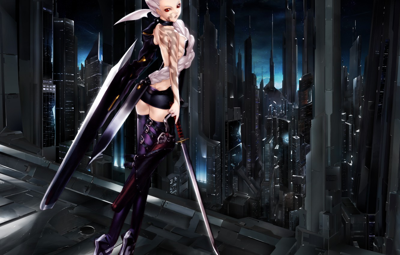 Фото обои меч, Луна, Мария, techgirl, Tenshi, Хакуа Ugetsu, Bakuretsu