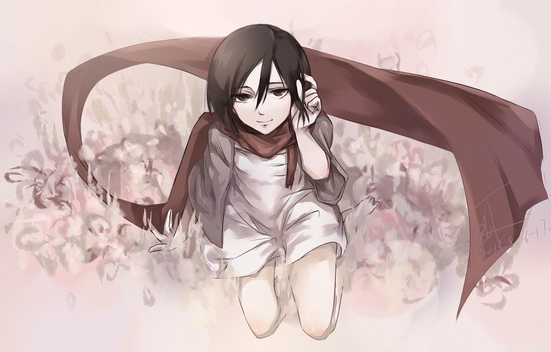 Фото обои взгляд, девушка, улыбка, шарф, платье, живопись, сидит, anime, art, shingeki no kyojin, mikasa ackerman, mizore