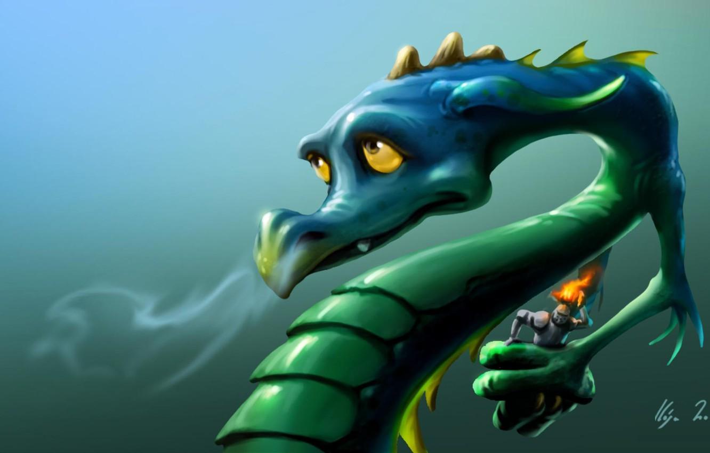 Фото обои взгляд, морда, зеленый, огонь, дракон, доспехи, арт, шлем, рыцарь, горит, Zsolt Kosa