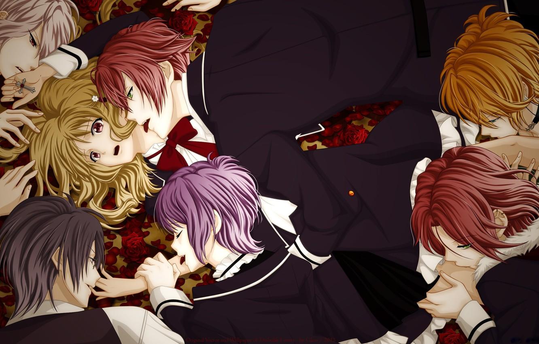 Фото обои девушка, парни, вампиры, Diabolik Lovers