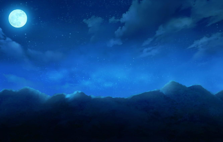 Фото обои небо, облака, горы, ночь, природа, луна, аниме, арт, cura, monobeno