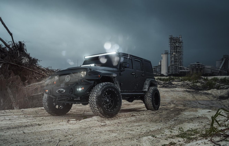 Фото обои Car, Fuel, Black, Jeep, Wrangel