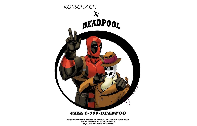 Фото обои Watchmen, Роршах, хранители, Deadpool, комикс, MARVEL, Rorschach, Марвел, Дедпул