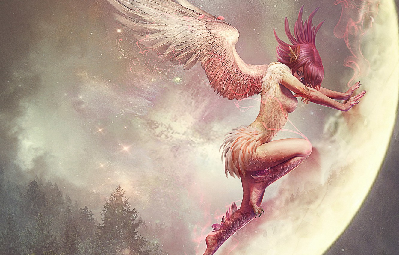 Фото обои девушка, фентези, луна, крылья, аниме, демон, арт, земля. планета