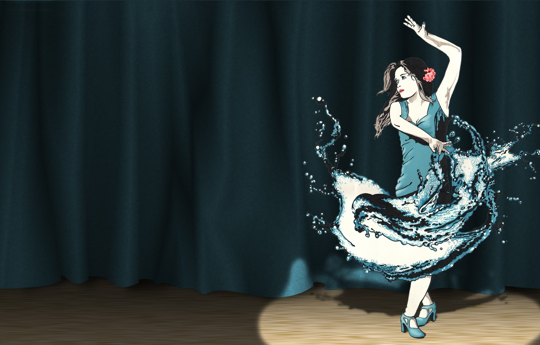Фото обои сцена, прожектор, танцовщица, Smashing Magazine