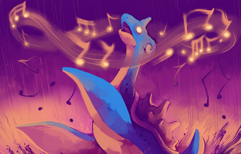 Фото обои море, ноты, музыка, покемон, pokemon, lapras, лапрас