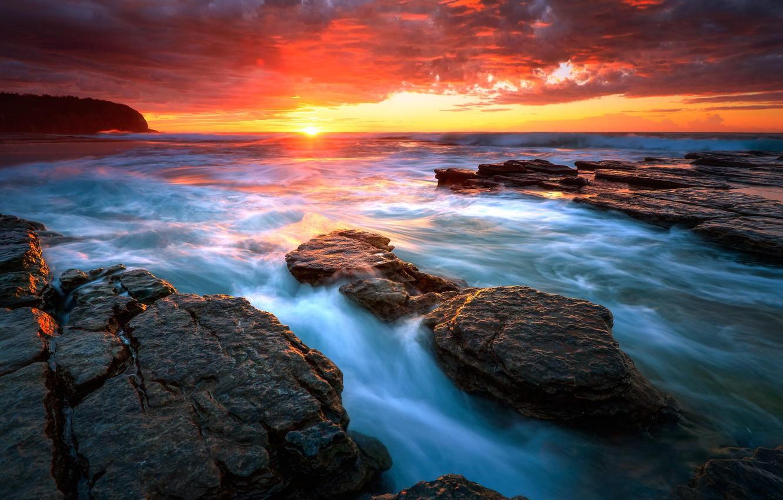 Фото обои море, вода, солнце, восход, скалы, beach, sea, water, rocks, Sydney, Seascape, Rising sun, Turimetta, vawes
