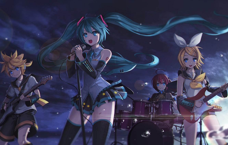Фото обои небо, облака, капли, закат, девушки, гитара, группа, аниме, арт, микрофон, парень, vocaloid, hatsune miku, megurine …