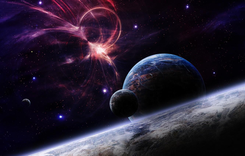 Фото обои lights, Star, stars, planets, galaxies