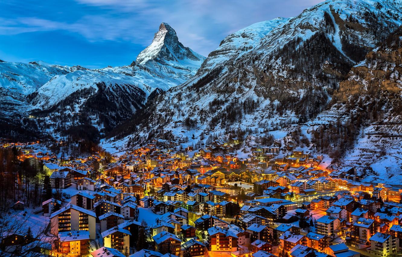 Обои швейцария, swiss alps, zermatt, долина, дома, альпы. Пейзажи foto 14