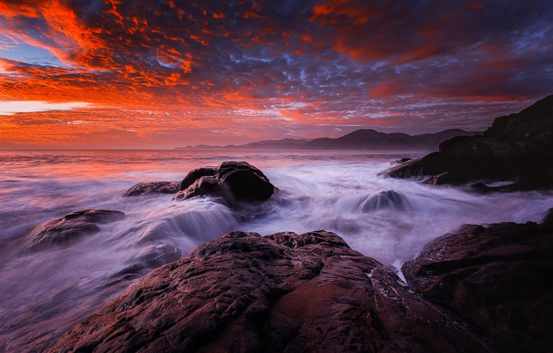 Фото обои море, волны, пляж, камни