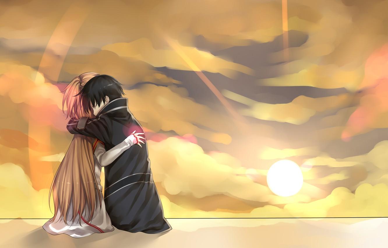 Фото обои девушка, солнце, облако, пара, мужчина, Аниме, плащ, длинные волосы, короткие волосы, объятие, каштановые волосы, absurdres, …