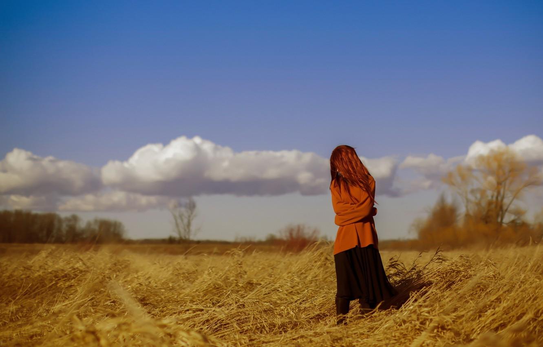 Фото обои поле, девушка, настроение