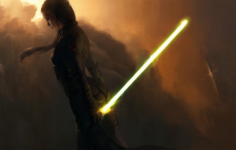 Фото обои облака, Девушка, костюм, световой меч