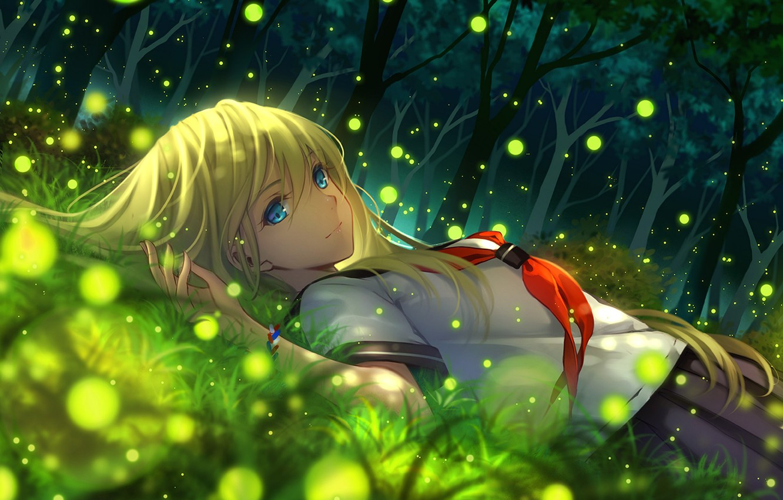 Фото обои девушка, деревья, природа, улыбка, светлячки, аниме, арт, школьница, tidsean