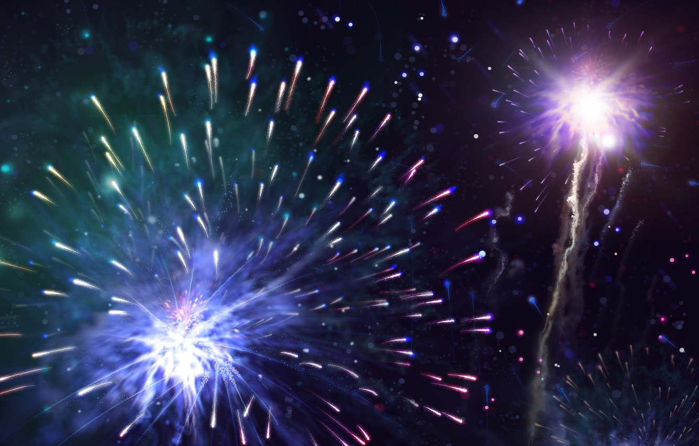 Фото обои праздник, новый год, салют