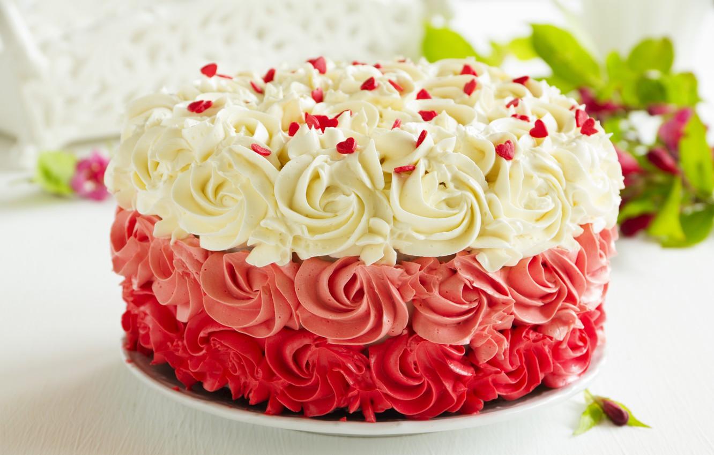 Фото обои сладость, торт, крем, листики, выпечка, сахарные сердечки