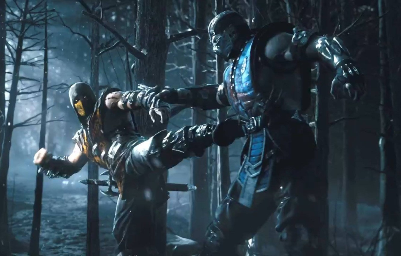 Фото обои лес, ночь, меч, ниндзя, Scorpion, ninja, Sub-Zero, Mortal Kombat X