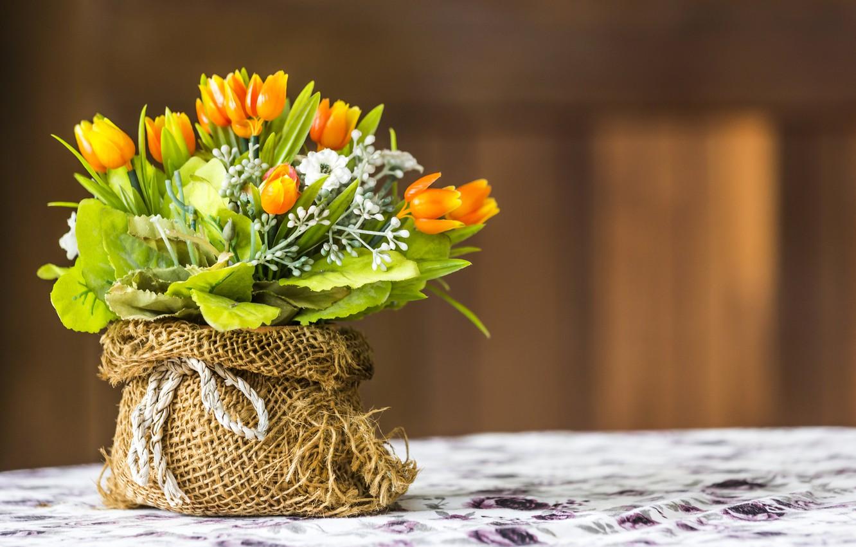 Фото обои Цветы, Тюльпаны, искусственные цветы, Букеты