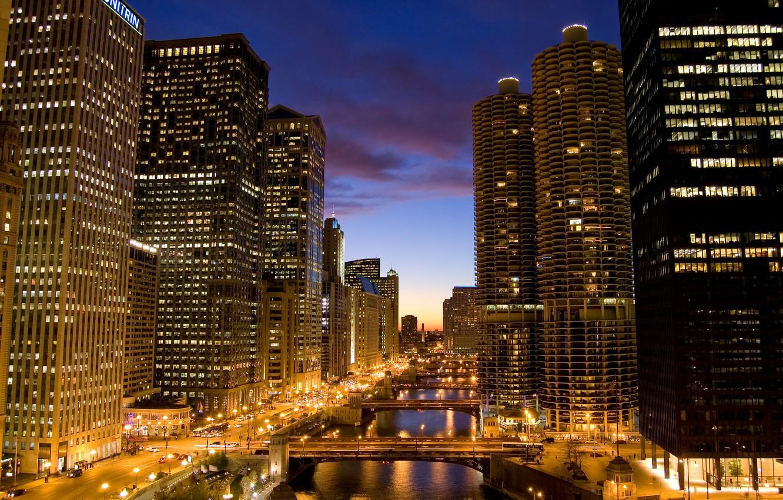 Обои чикаго, мосты, здания, chicago, сша, ночь, америка. Города foto 6