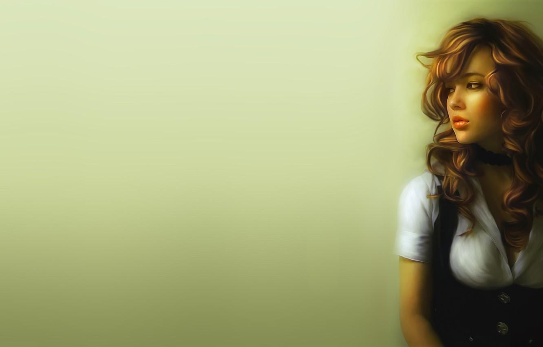 Фото обои взгляд, девушка, лицо, фон, стена, волосы, арт, живопись, кудри, Igor Grushko