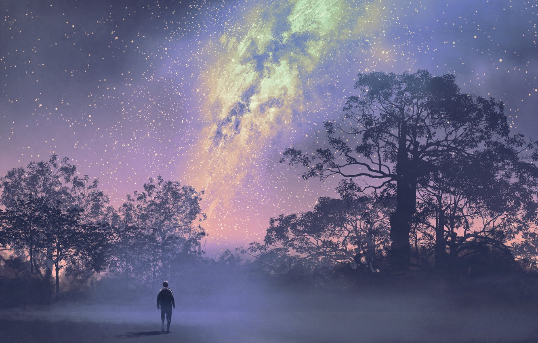 Фото обои Небо, Звезды, Деревья, Человек, Art