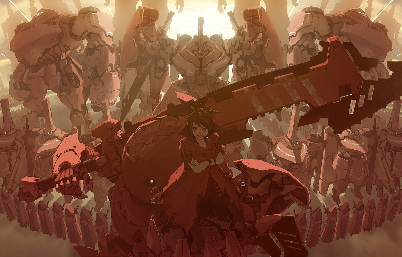 Фото обои девушка, улыбка, оружие, армия, аниме, роботы, арт, мечи, masariro