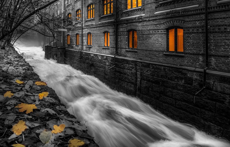Фото обои город, дом, поток