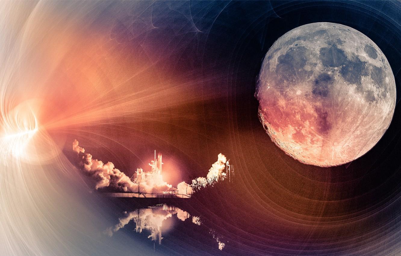 Фото обои космос, планета, старт