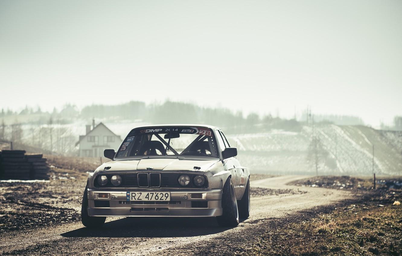 Фото обои BMW, Drift, Car, Front, Sun, E30, Road, Silver, Ligth
