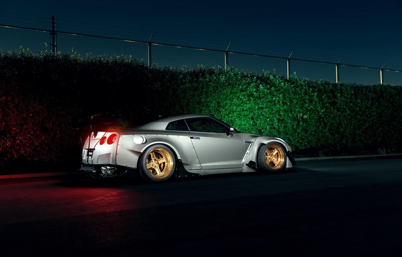 Фото обои Dark, Light, Nissan, GT-R, Car, Sport, Low, Rear, Stancenation
