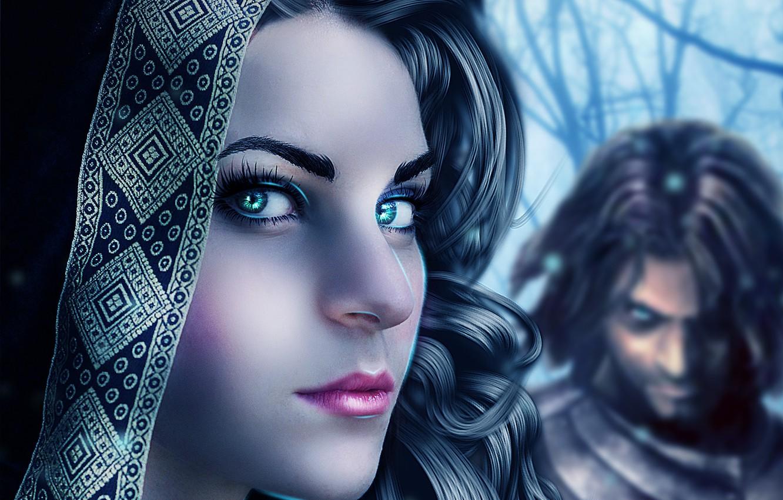 Фото обои глаза, взгляд, девушка, лицо, ресницы, фон, волосы, макияж, арт, губы, мужчина, кудри
