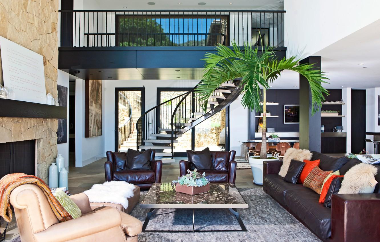 Фото обои диван, кресла, лестница, interior, home, столик.